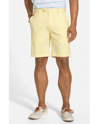 Peter Millar Yellow Flat Front Lightweight Cotton Shorts for men
