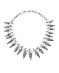 Kenneth Jay Lane | Metallic Pavé Spike & Faux Pearl Necklace | Lyst