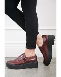 Forever 21 Purple Lug-sole Monk Strap Loafers