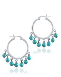 Lord & Taylor | Blue Howlite Hoop Drop Earrings | Lyst