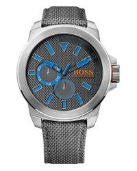BOSS Orange - Gray Multifunction Nylon Strap Watch for Men - Lyst
