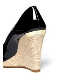 Michael Kors Black Keegan Patent Leather Espadrille Wedges