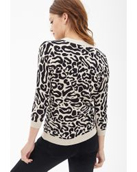 Forever 21 - Black Leopard Print Crew Neck Sweater - Lyst