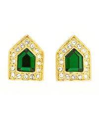 Rachel Zoe | Metallic Gold-plated Green Crystal Deco Button Earrings | Lyst
