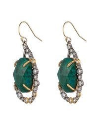 Alexis Bittar Green Crystal Embellished Tear Drop Earring With Rose Cut Chrysocolla