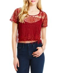 Jessica Simpson | Crocheted Layered Top | Lyst