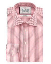 Thomas Pink | Red Check Slim Fit Long Sleeve Classic Collar Formal for Men | Lyst