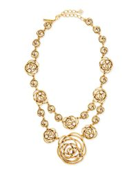 Oscar de la Renta | Metallic Rose-motif Wire Necklace | Lyst