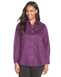 Foxcroft - Purple Stripe Non-iron Cotton Sateen Shirt - Lyst