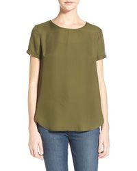 Lush | Green Split-Back Crepe T-Shirt  | Lyst