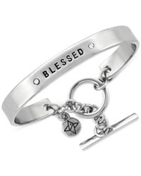 "BCBGeneration | Metallic Silver-tone ""blessed"" Bracelet 