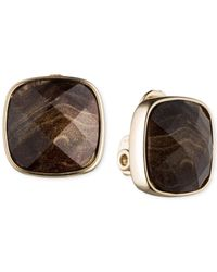 Anne Klein | Metallic Gold-tone Faceted Stone Clip-on Earrings | Lyst