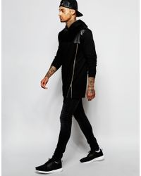 ASOS - Black Super Longline Hoodie With Faux Leather Panel & Gold Zip for Men - Lyst