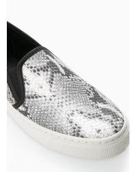 Mango Gray Snake-Effect Sneakers