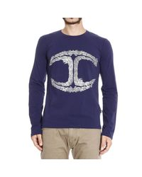 Just Cavalli - Blue T-shirt Long Sleeves Round Neck Logo Print for Men - Lyst