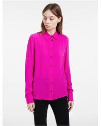 Calvin Klein - Pink Platinum Platinum Spring Silk Top - Lyst