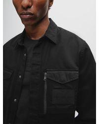 Calvin Klein Twillkatoenen Utility Overhemd in het Black voor heren