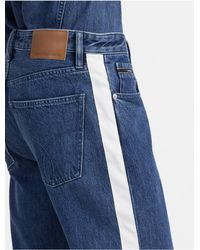 CALVIN KLEIN 205W39NYC Blue Straight Tapered High Rise Striped Jeans for men