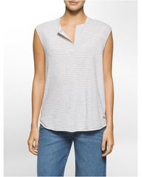 Calvin Klein - Multicolor Jeans Lightweight Heathered Striped Top - Lyst