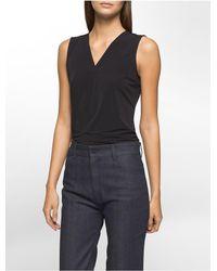 Calvin Klein | Black V-neck Sleeveless Top | Lyst