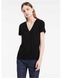 Calvin Klein | Black Platinum Platinum Cotton Blend V-neck Top | Lyst