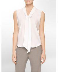 Calvin Klein | White Drape Tie Front Sleeveless Top | Lyst