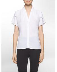 Calvin Klein | White Ruffle V-neck Short Sleeve Top | Lyst