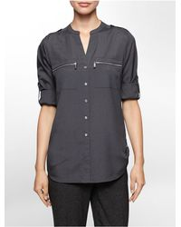 Calvin Klein   Gray Mandarin Collar Roll-up Sleeve Blouse   Lyst