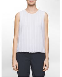 Calvin Klein   White Pleated Front Chiffon Sleeveless Top   Lyst