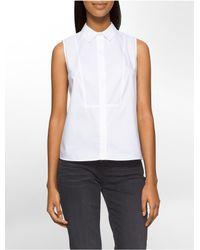 Calvin Klein | White Cotton Sleeveless Top | Lyst