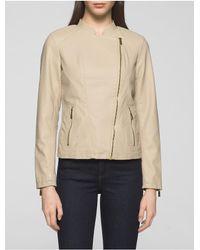 Calvin Klein | Natural Faux Leather Rib Knit Moto Jacket | Lyst
