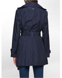 Calvin Klein - Blue Bonded Poly Trench Coat - Lyst