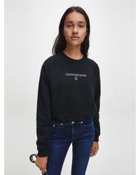 Calvin Klein Cropped Sweatshirt Met Logo in het Black
