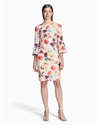 CALVIN KLEIN 205W39NYC Multicolor Floral Bell Sleeve Sheath Dress