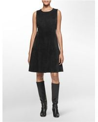 Calvin Klein | Black Ultra Suede Sleeveless Fit + Flare Dress | Lyst
