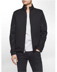 Calvin Klein | Black Premium Slim Fit Mixed Media Sweatshirt for Men | Lyst