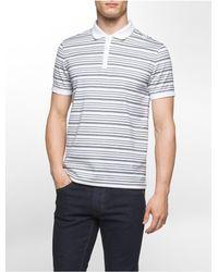 Calvin Klein | White Classic Fit Textured Auto Stripe Polo Shirt for Men | Lyst