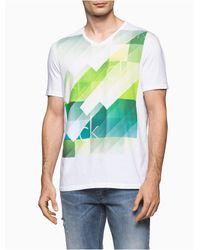 Calvin Klein - White Slim Fit Digital Rainbow Logo V-neck T-shirt for Men - Lyst