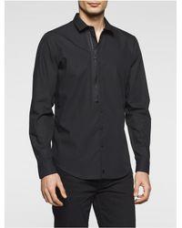 Calvin Klein | Black Slim Fit Zip Shirt for Men | Lyst
