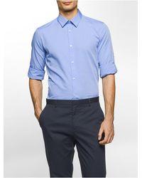 Calvin Klein   Blue Slim Fit End-on-end Solid Roll-up Shirt for Men   Lyst