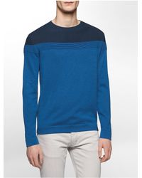 Calvin Klein | Blue Cotton Modal Colorblock Ottoman Sweater for Men | Lyst