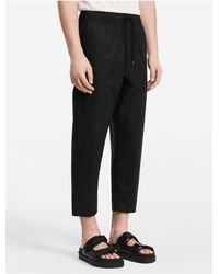 Calvin Klein | Black Platinum Platinum Cotton Poplin Elasticated Pants | Lyst