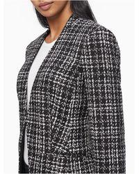 Calvin Klein Black Boucle Textured Open Jacket