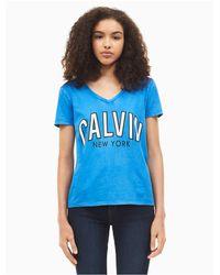 Calvin Klein Blue Flocked Logo V-neck T-shirt