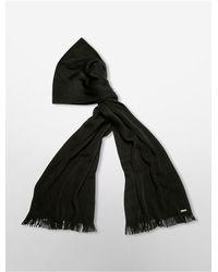 Calvin Klein | Black Heathered Wrap Knit Scarf | Lyst