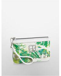 Calvin Klein - Green Hailey Palm Print Wristlet - Lyst