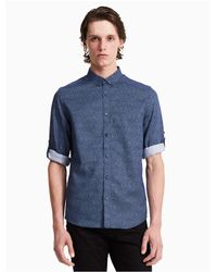 Calvin Klein - Blue Classic Fit Half Dot Roll-up Shirt for Men - Lyst