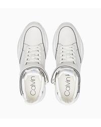Calvin Klein Leren Enkelhoge Sneakers in het White