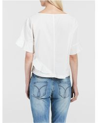 CALVIN KLEIN 205W39NYC - White Jeans Solid Ruffle T-shirt - Lyst