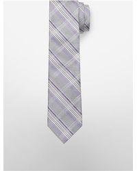 Calvin Klein | Purple Steel Heather Plaid Tie for Men | Lyst